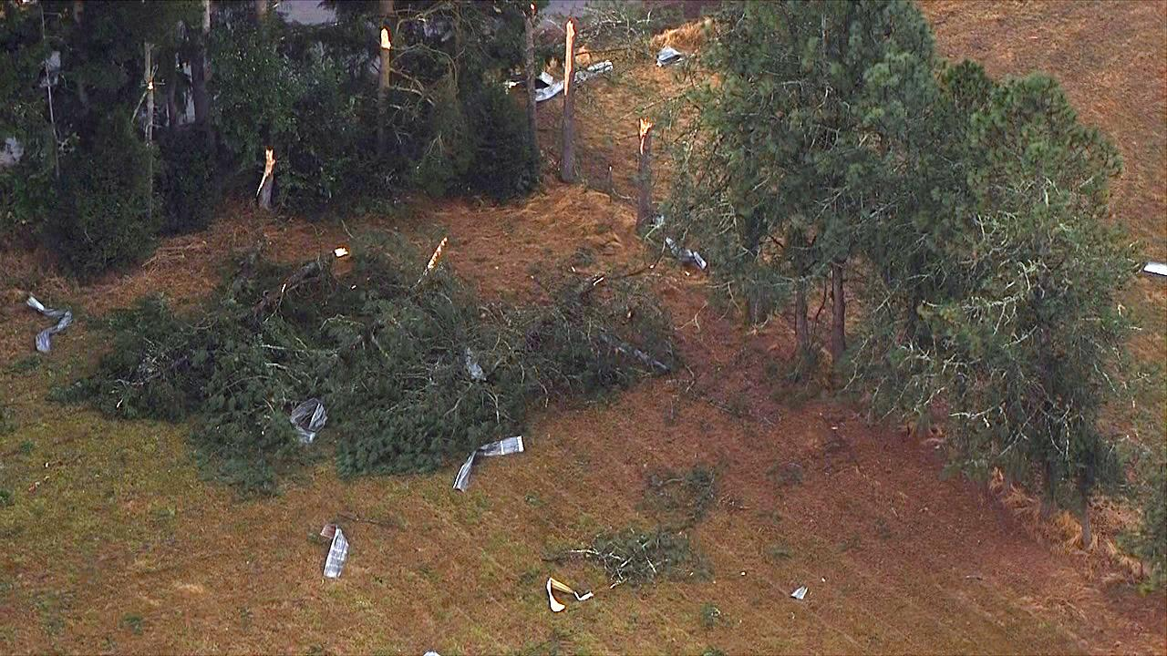 Downed trees and other debris litter a field in Lacomb, Oregon after a possible tornado ripped through the area Tuesday, Sept. 19, 2017. (Photo: Chopper 2/KATU News)