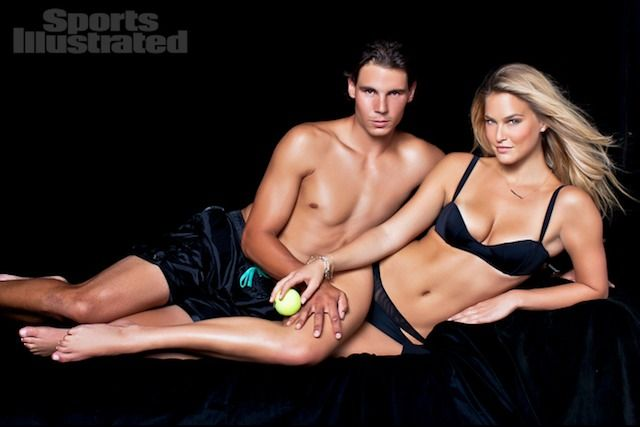 Rafael Nadal Poses with Bar Refaeli In the 2012 Sports Illustrated Swimsuit Issue. (Photo credit: Sports Illustrated)