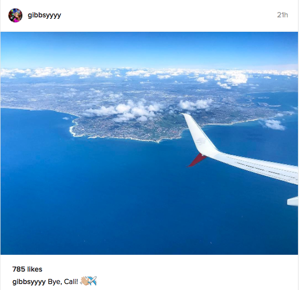 Nicole Gibbs posts a photo on Instagram as she leaves California and heads to Acapulco for Abierto Mexicano TELCEL.