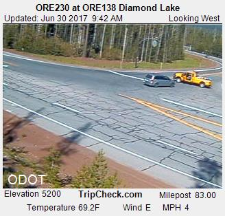 ODOT camera shows the road closed at the junction.
