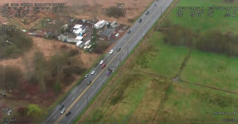 Police chase after a shooting and hit-and-run suspect (Via King County Sheriff's Office/Guardian One){&amp;nbsp;}<br>