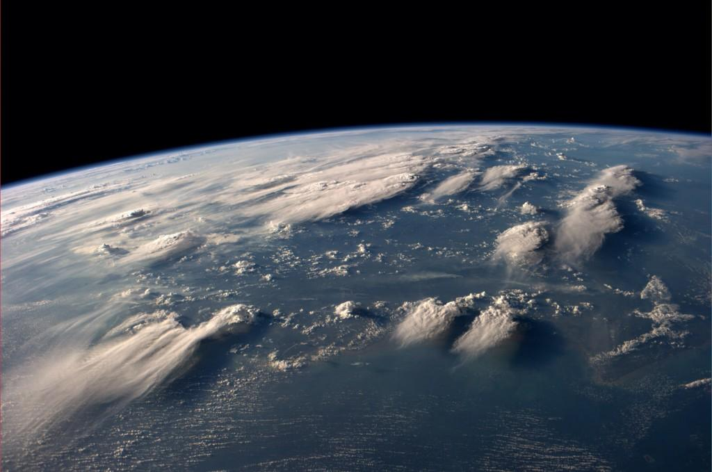 A pop-up book for space travelers. Clouds reaching so high I couldn?t believe it. (Photo & Caption: Reid Wiseman, NASA)