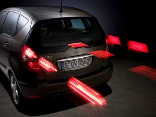 Some cars in Europe are equipped with brake lights that flash quickly. The idea is to warn following drivers of a sudden stop from cars ahead. But U.S. regulators say brake lights are allowed to do only glow more brightly than the taillights.