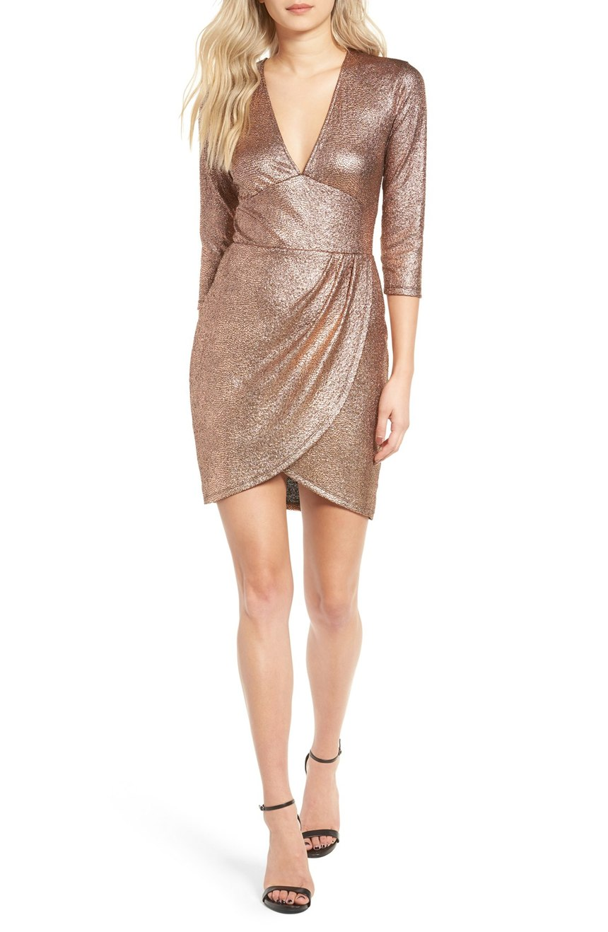 The perfect dress for a confident woman! This 'Metallic Body-Con Dress' is super hot and screams NYE! $69.00 (Image: Nordstrom)
