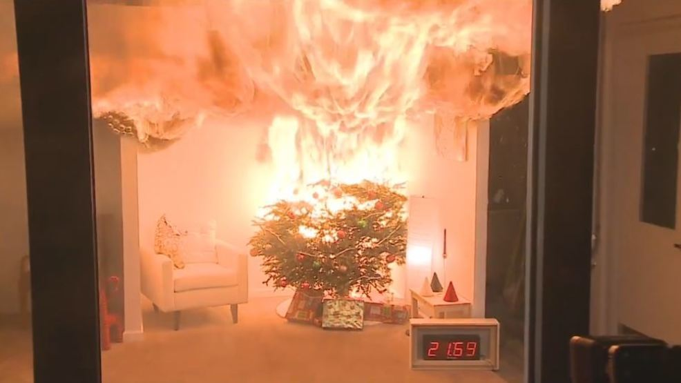 Christmas Tree On Fire.Keeping Real Christmas Trees Safe From Fire Kepr