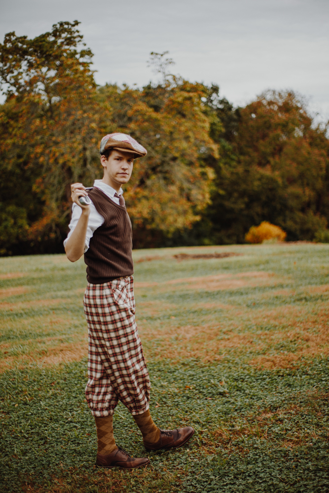 Stuart Lindle as a 1920s-era golfer with clothing pieces from Talk of the Town / Image: Catherine Viox // Published: 10.14.17