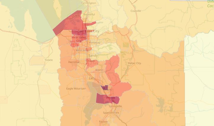 Crude case rate per 100,000 people in Utah by small area. (Image: UDOH)<p></p>