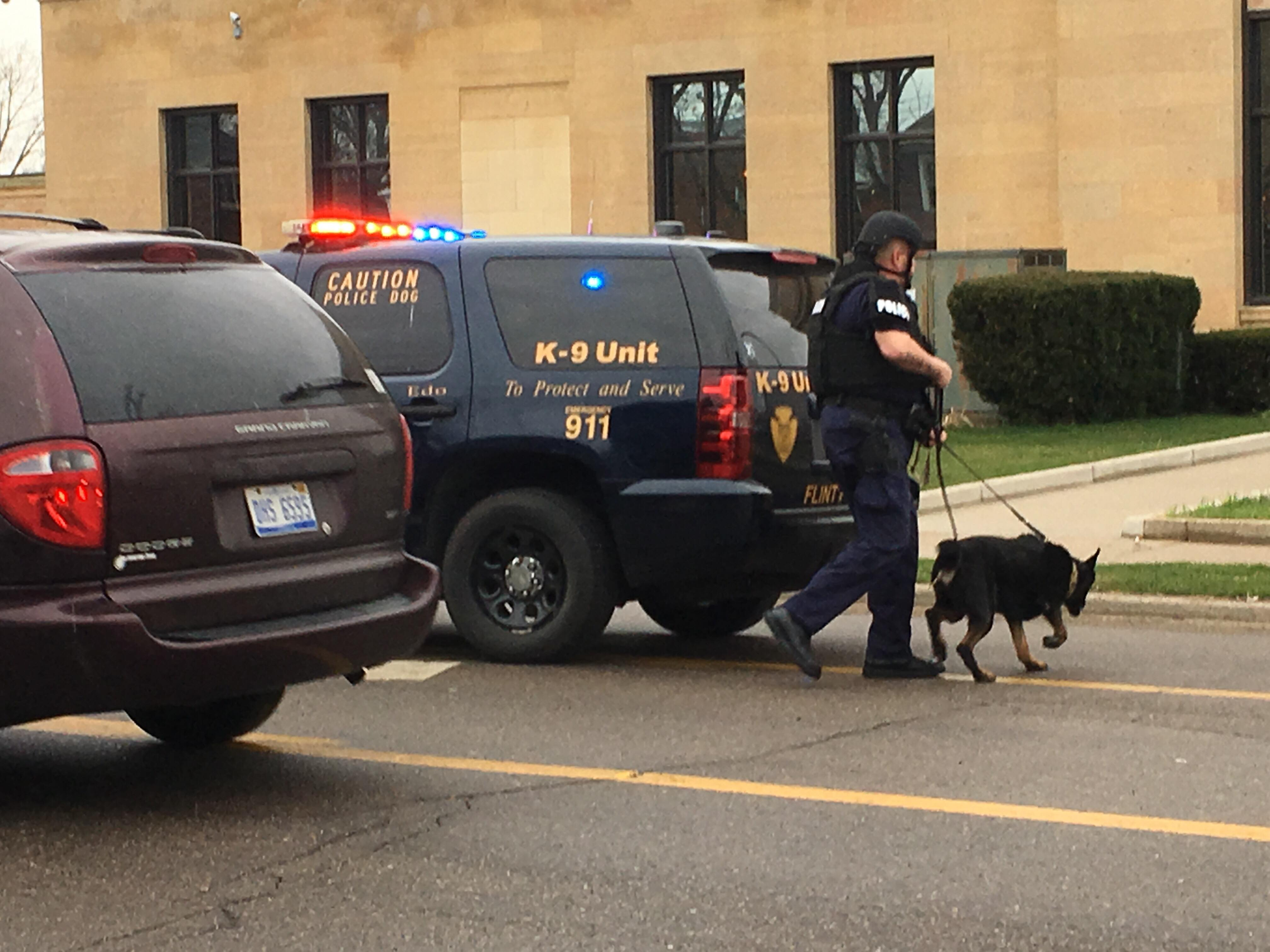 A suspicious package was found at the Federal Building in Flint. (Photo Credit: Courtney Wheaton){ }