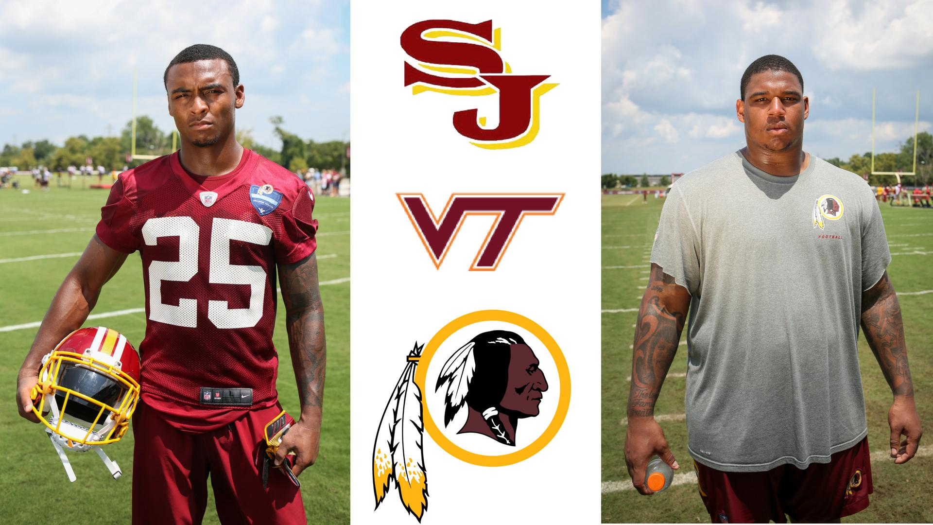 21-year-old Tim Settle and 22-year-old Greg Stroman grew up together in Northern Virginia, played high school football together at Stonewall Jackson and went on to be teammates for three years at Virginia Tech. Now, against all odds, the buddies have been drafted to play for their home team, the Washington Redskins. (Image: Amanda Andrade-Rhoades/ DC Refined)