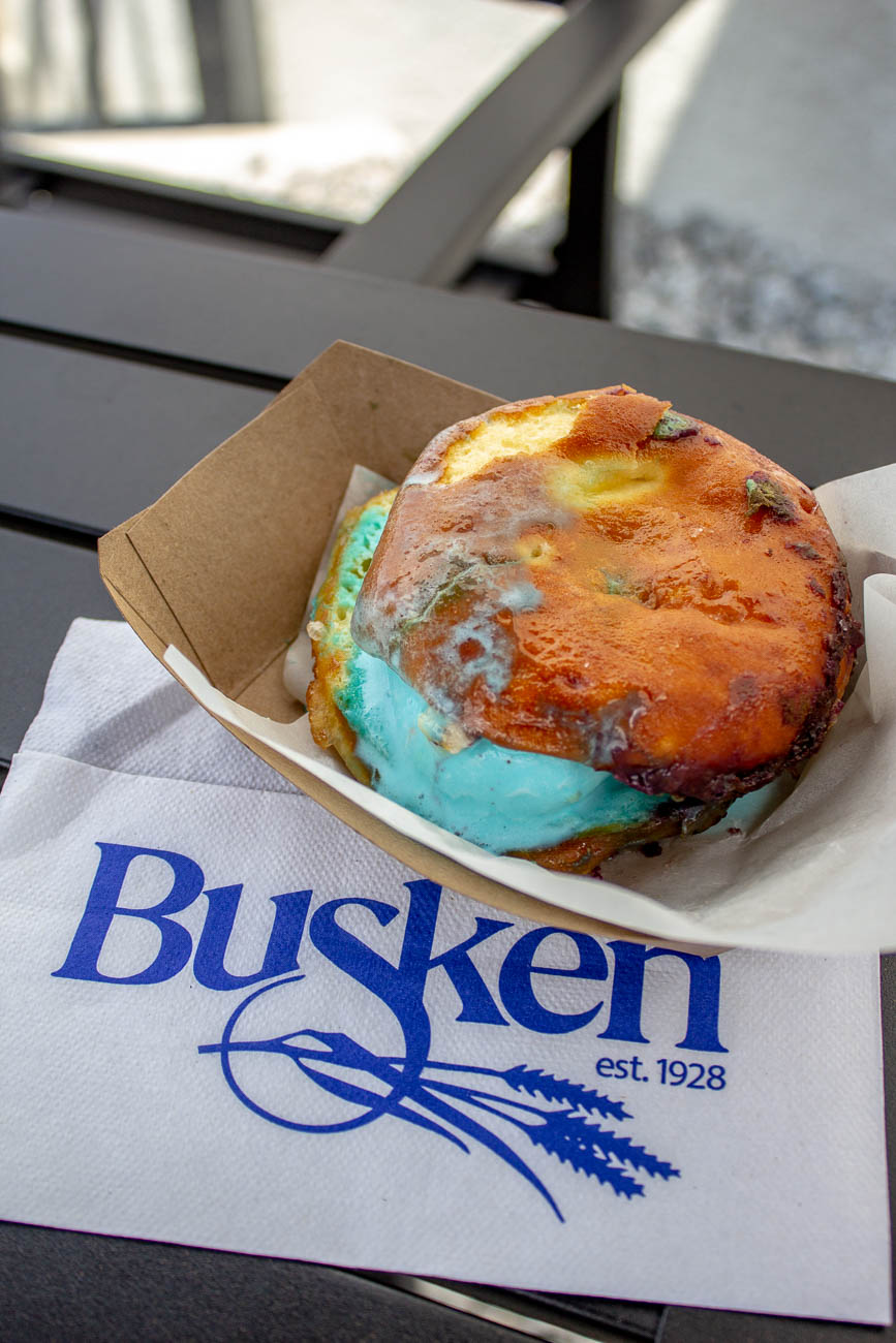 <p>Spoiled Rotten: Blue Moo Cookie Dough ice cream stuffed into a glazed donut / Image: Katie Robinson, Cincinnati Refined // Published: 7.21.19</p>