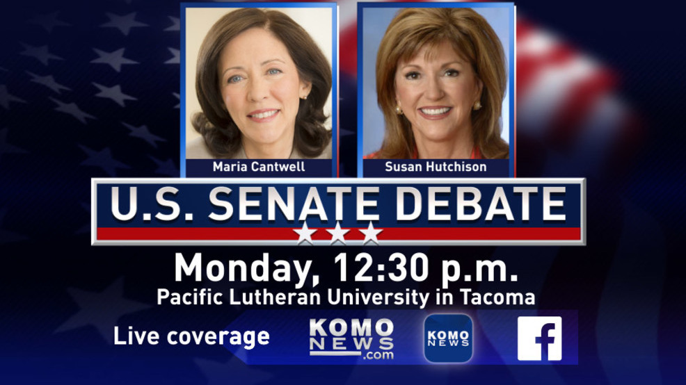 U.S. Senate debate between Cantwell and Hutchison starts at 12:30p today