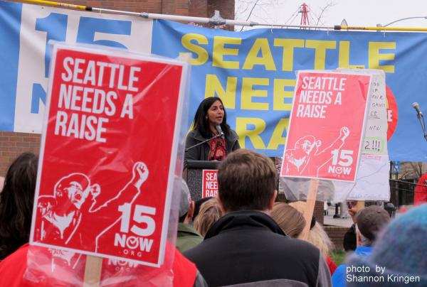 Seattle city council woman, Kshama Sawant, champions the $15 minimum wage regulation in Seattle. Now a restaurant ownership group is blaming the big jump in labor costs for part of its bankruptcy filing. (photo: Shannon Kringen)
