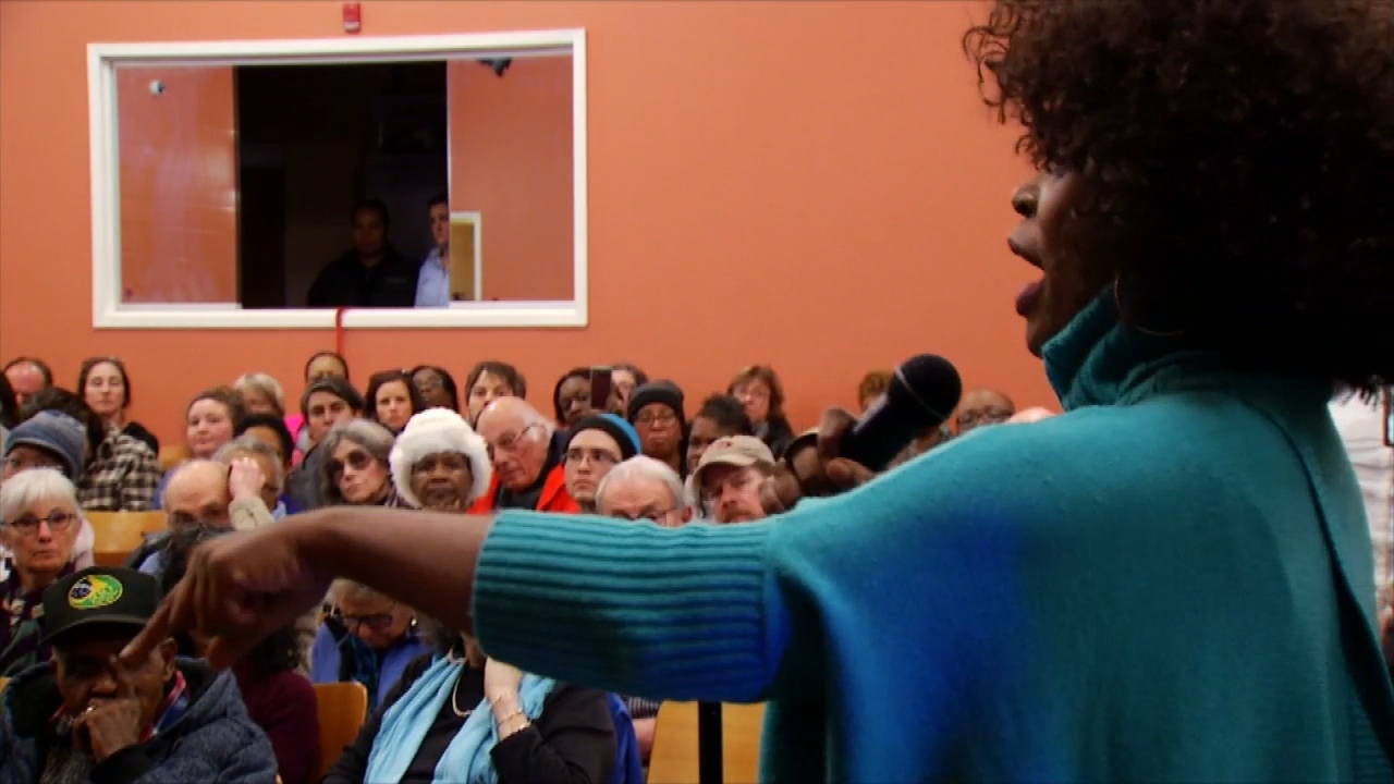 The Citizens Police Advisory Committee met at the Dr. Wesley Grant Sr. Southside Center. Just as the meeting was getting started, the public quickly took control and began speaking out. (Photo credit: WLOS staff)