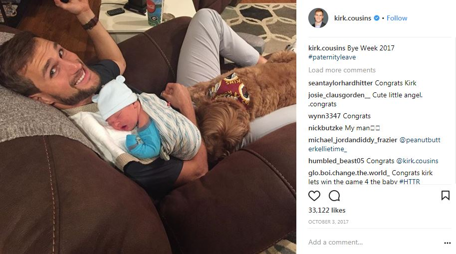 "Ok, so the Redskins didn't give us a whole lot to be excited for this season, but the birth of baby Cooper Cousins on September 29 sure was a highlight! Lucky for us, Kirk is pretty active on social media, and proudly displayed just how much he was loving his new position as ""dad."" The sneak peeks of Cooper, often accompanied by the family Goldendoodle Bentley, kept us going even as the season slipped away from us and veered into depressing territory once again. (Image: via IG user @kirk.cousins/{ }www.instagram.com/kirk.cousins/)"
