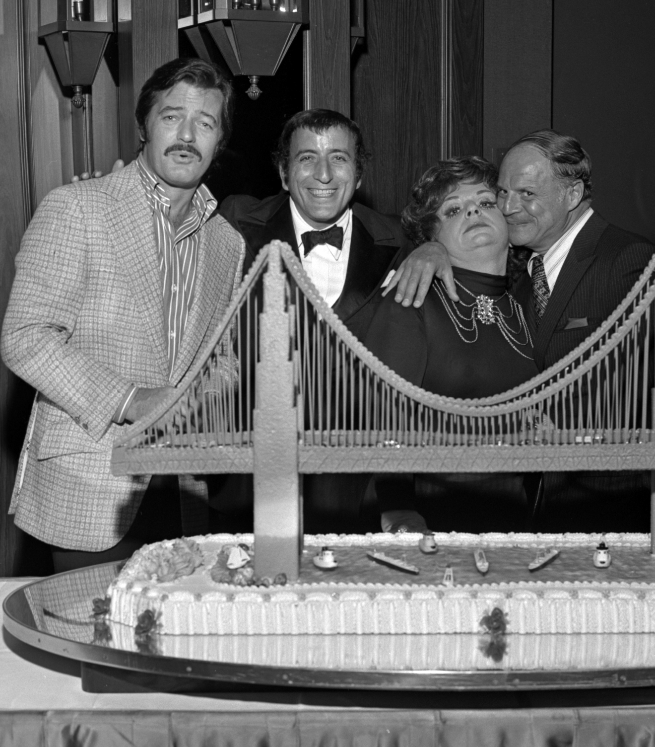 Robert Goulet, Tony Bennett,Totie Fields and Don Rickles at Tony Bennett opening night party at the Riviera on Oct. 26, 1971. [Las Vegas News Bureau file photo]