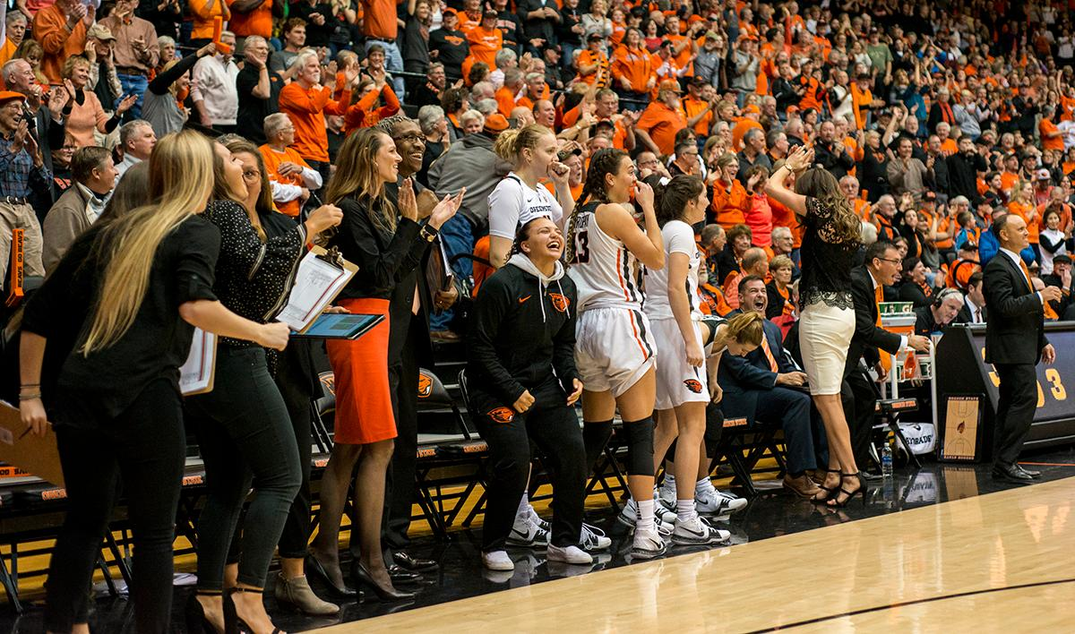 The Oregon State Beavers bench lights up with joy as the game comes to a close.The Oregon Ducks were defeated by the Oregon State Beavers 85-79 on Friday night in Corvallis. Sabrina Ionescu scored 35 points and Ruthy Hebard added 24. The Ducks will face the Beavers this Sunday at 5 p.m. at Matthew Knight Arena. Photo by Abigail Winn, Oregon News Lab