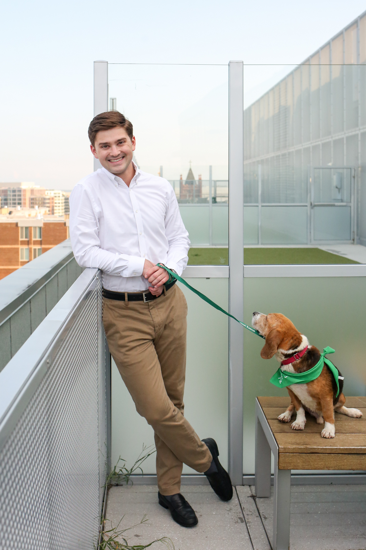Meet Ranger, a Beagle mix who is approximately 4-5 years old, and David, a 25-year-old human.{ } Photo location: City Market at O Apartments Rooftop Dog Park (Image: Amanda Andrade-Rhoades/ DC Refined)