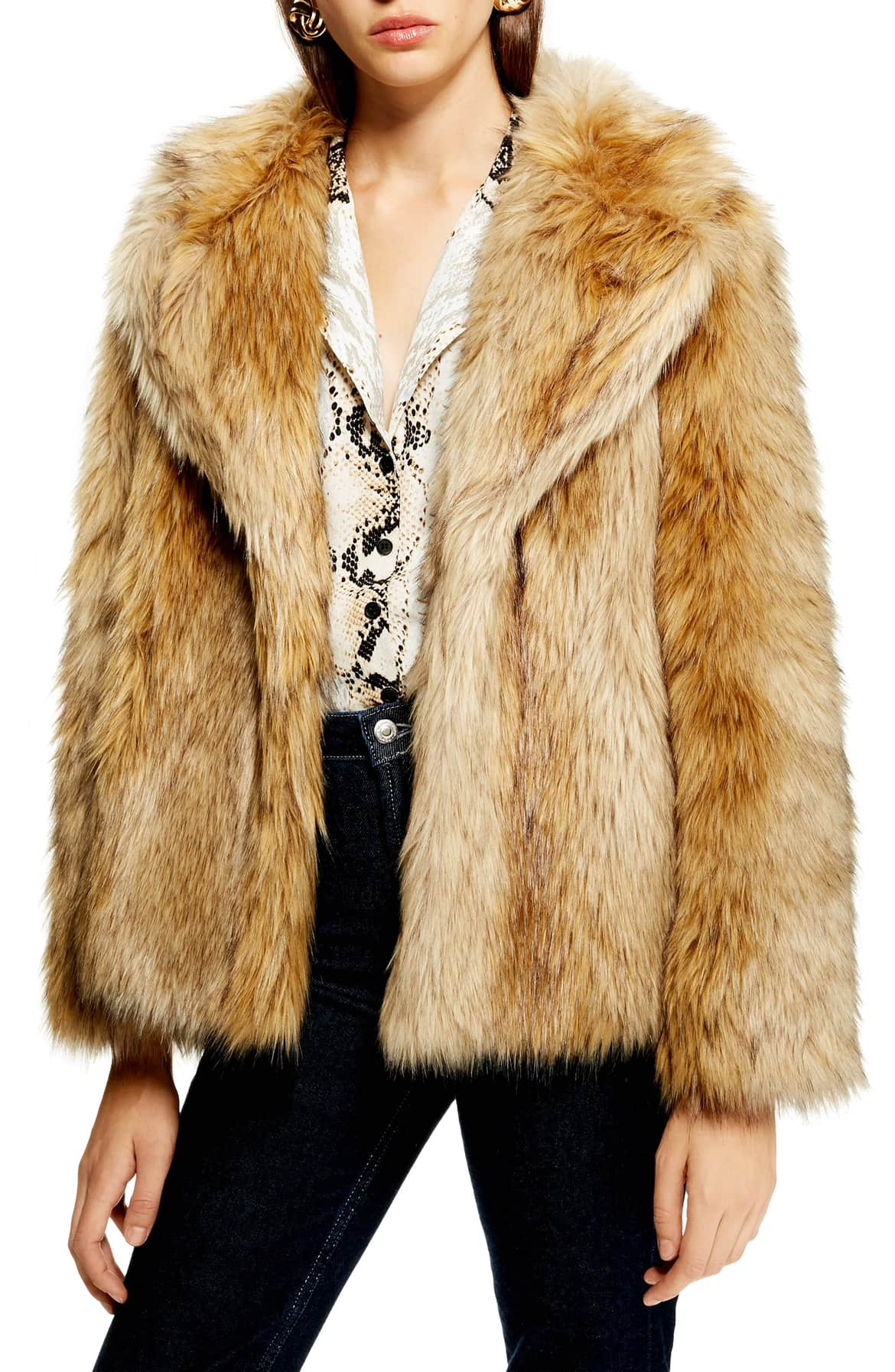 <p>Super shaggy faux fur adds statement texture to this hip-length jacket detailed with a face-framing collar. $150. (Image: Nordstrom){&nbsp;}</p><p></p>