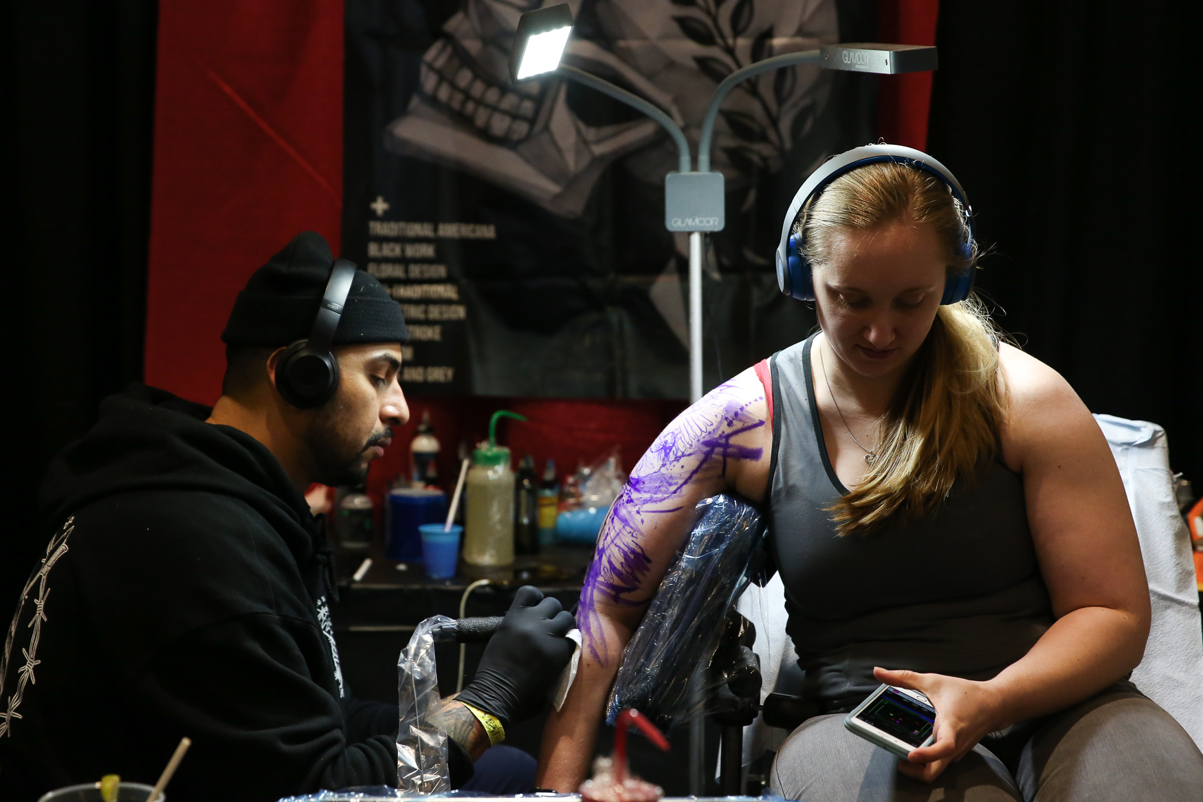 The D.C. Tattoo expo is back at the Crystal Gateway Marriott in Crystal City. Hundreds of tattoo artists, piercers, people looking for new ink and curious onlookers can gather through this weekend to celebrate tattooing. In addition to offering opportunities to get tattoos from artists that aren't local, the tattoo convention gives people a chance to show off their body art work, which we've also featured here. (Amanda Andrade-Rhoades/DC Refined)