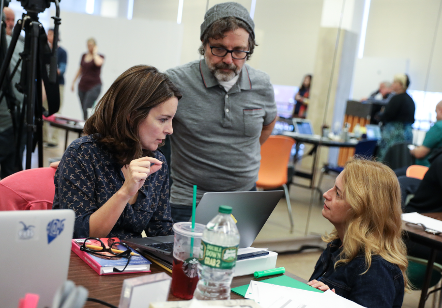 "Tina Fey (book), Jeff Richmond (music) sand Nell Benjamin (lyrics) in rehearsals before the World Premiere of ""Mean Girls"" at the National Theatre running October 31 through December 3. The show will preview on Broadway beginning March 12 before opening night on April 8, 2018. (Image: Joan Marcus)"