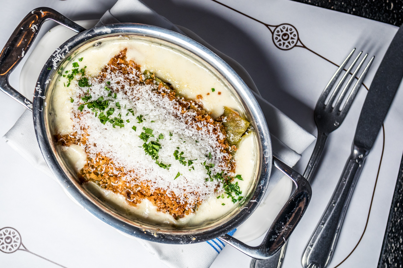 Swiss Chard & Sausage: filled cannelloni pasta, three cheese fondue, and garlic breadcrumbs / Image: Catherine Viox // Published: 12.24.20