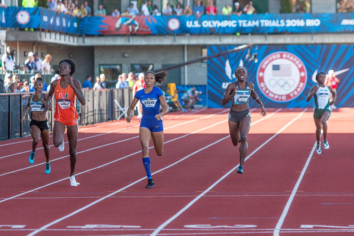 Runners compete in the women�s preliminary rounds of the 400 meter dash. Day One of the U.S. Olympic Trials Track and Field began on Friday at Hayward Field in Eugene, Ore. and will continue through July 10. Photo by Katie Pietzold