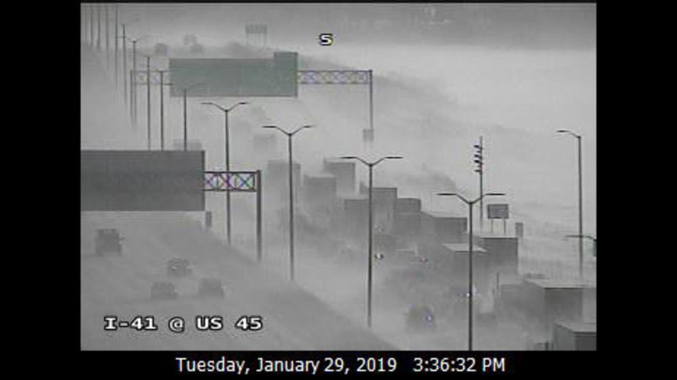 Blowing snow leads to dangerous conditions, crashes on I-41