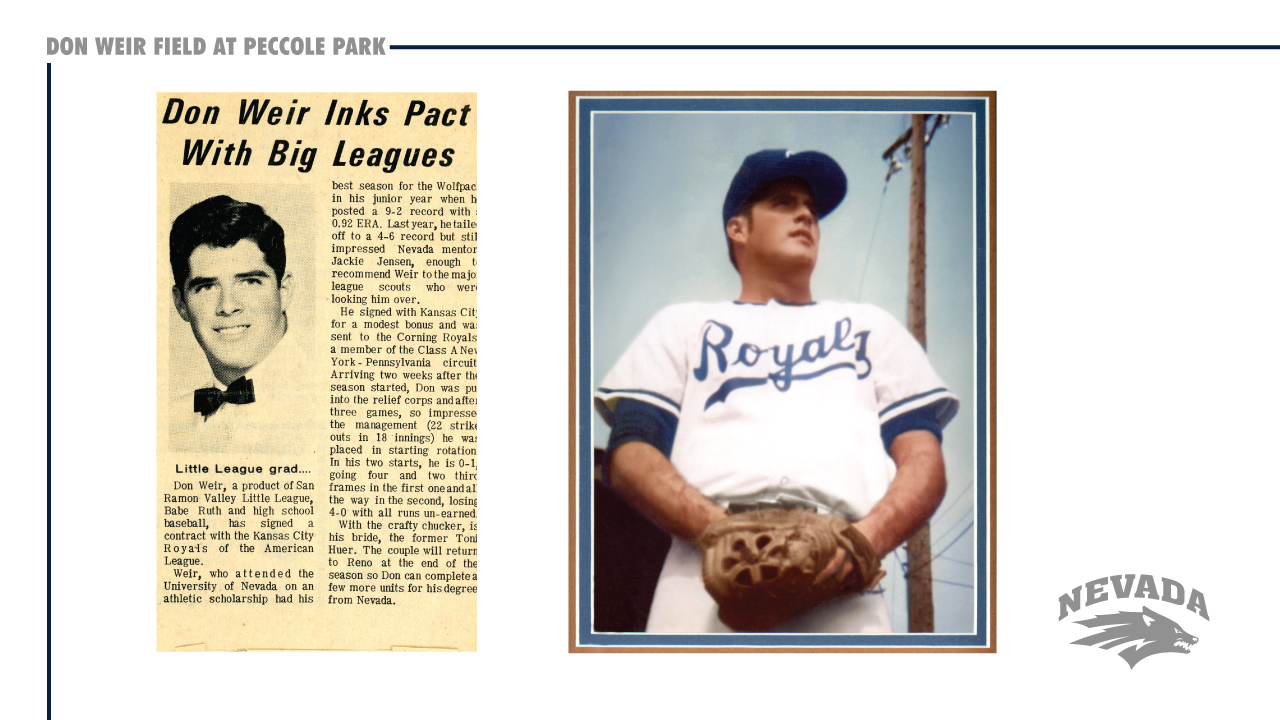 Don Weir as a Kansas City Royal. (Courtesy: UNR Athletics){&amp;nbsp;}<p></p>