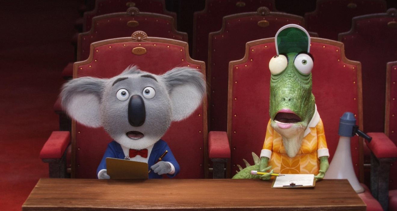 "This image released by Universal Pictures shows the character Buster, voiced by Matthew McConaughey, left, and Miss Crawly, voiced by Garth Jennings from the animated film, ""Sing."" (Universal Pictures via AP)"
