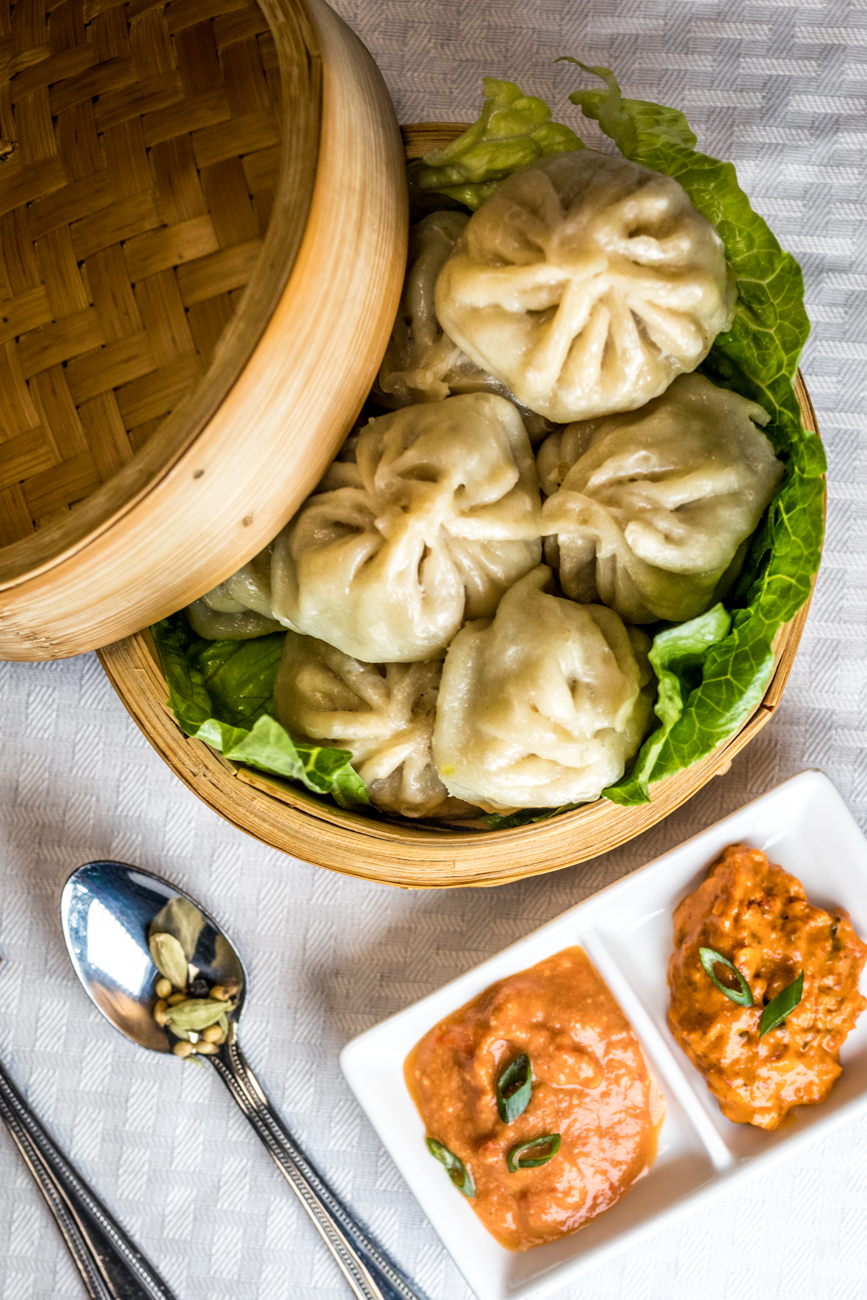 Chicken Mo:Mo: a traditional dumpling served through the Himalayan regions that are stuffed with veggies and meats and then steamed to perfection / Image: Catherine Viox // Published: 2.6.20