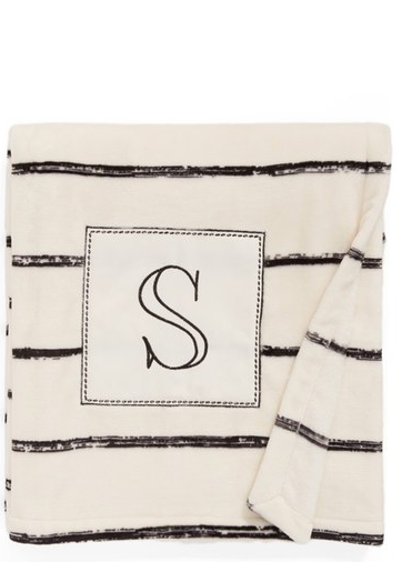 Levtex Plush Stripe Monogram Throw Blanket ($39.00). Find on nordstrom.com. (Image: Nordstrom)