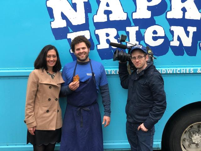 Jonny Silverberg from Napkin Friends along with Malia Karlinsky and John Prentice from Seattle Refined. At Napkin Friends Food Truck, Chef Jonny Silverberg and his crew serve up mouth watering latkes. They have fresh twist on potato pakcakes, using them in place of bread to create mouthwatering sandwiches. In addition to the O.G. (their signature sammie) and three others, their menu also features Jewish food faves like Matzoh Ball Soup.{ } (Image Napkin Friends)