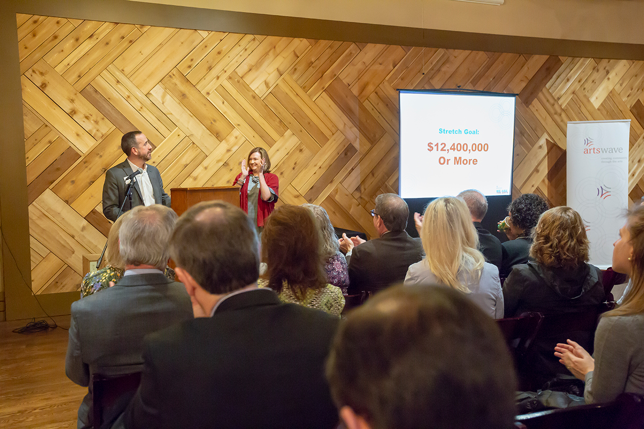 2019 ArtsWave Community Campaign Chair Leigh Fox, President & CEO of Cincinnati Bell (L) and ArtsWave President and CEO Alecia Kintner revealed the Campaign stretch goal of $12.4 million at a kickoff ceremony on February 6. / Image: Mikki Schaffner