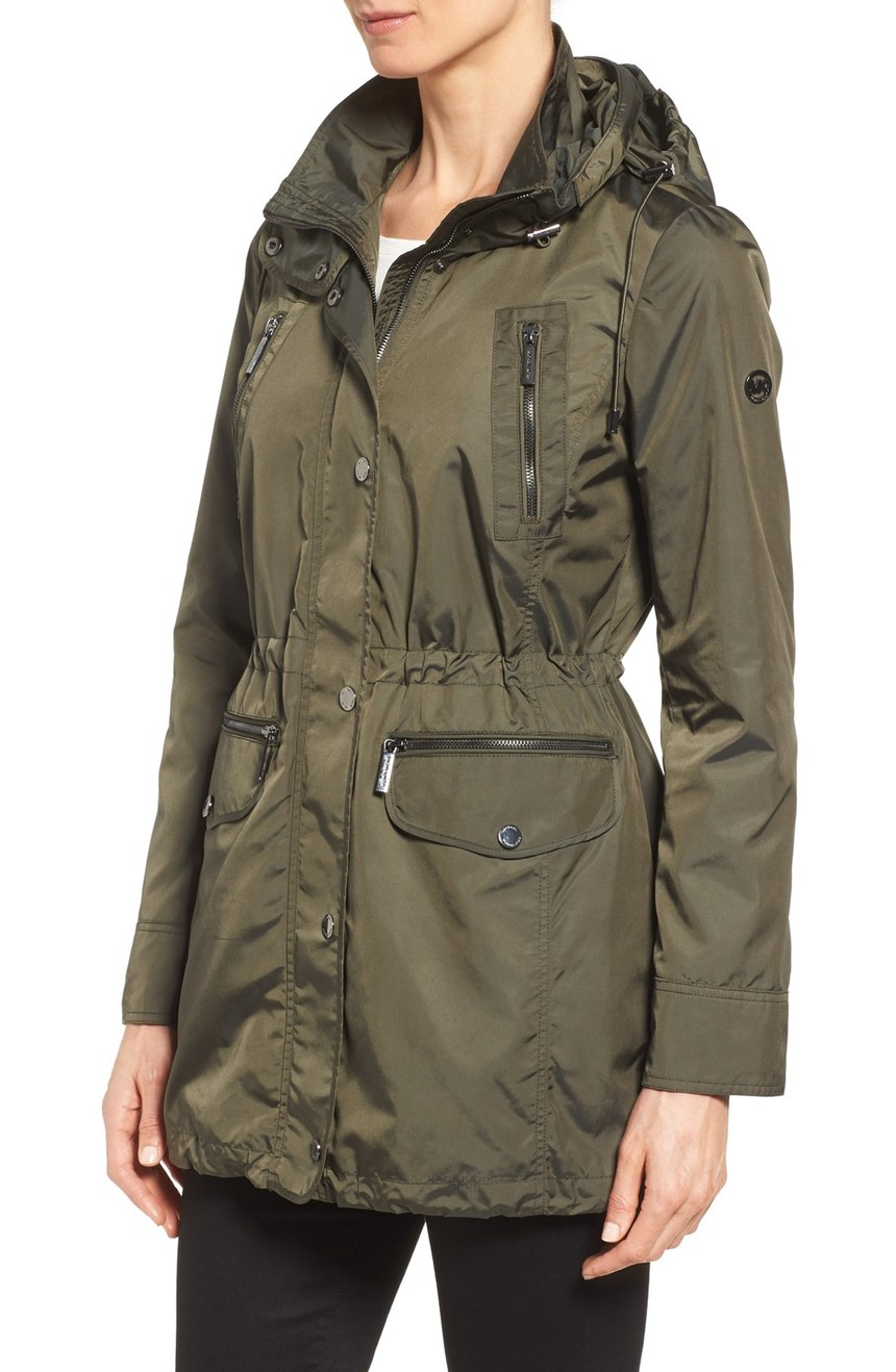 This Micheal Kors parka is extremely versatile.   The drawstring at the waist is very minimizing and flattering.  Very fashionable outerwear for fall.   (Image: Nordstrom)