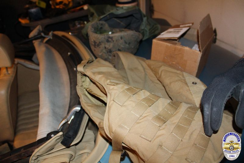 "Police located body armor while searching Clayton Smith's home. ""Smith is prohibited by law from possessing body armor because he is a felon who has been previously convicted for a crime involving violence,"" police said in a statement. (Keizer Police photo)"