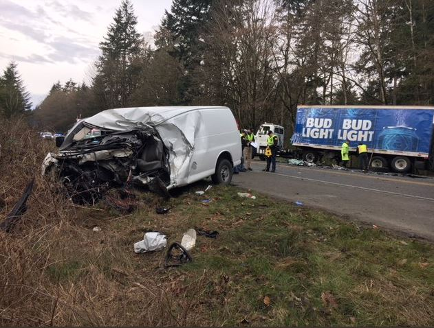 A three-vehicle fatality crash closed state Route 3 north of Poulsbo on Tuesday, March 13, 2018. (Photo: Washington State Patrol)