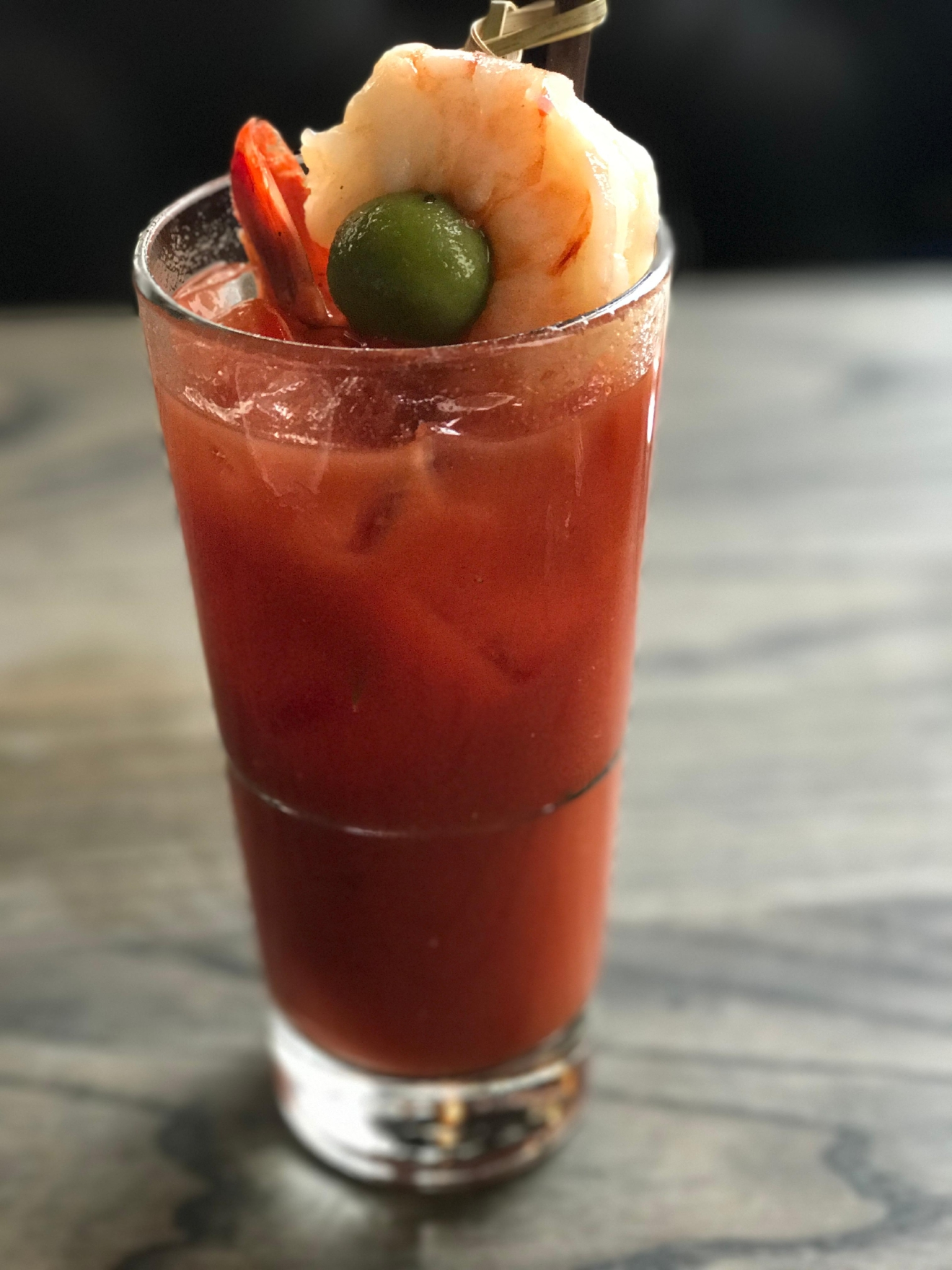 Spicy Bloody Mary from Pearl Tavern topped with a shrimp.  Yes please.                                            (Image: Kate Neidigh)