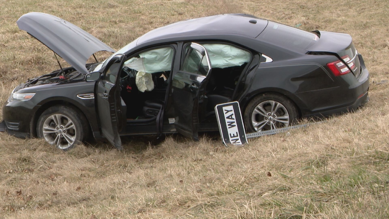 A crash on the Marhsall-Fulton county line took the life of a toddler riding in this Ford Taurus. // WSBT 22 photo