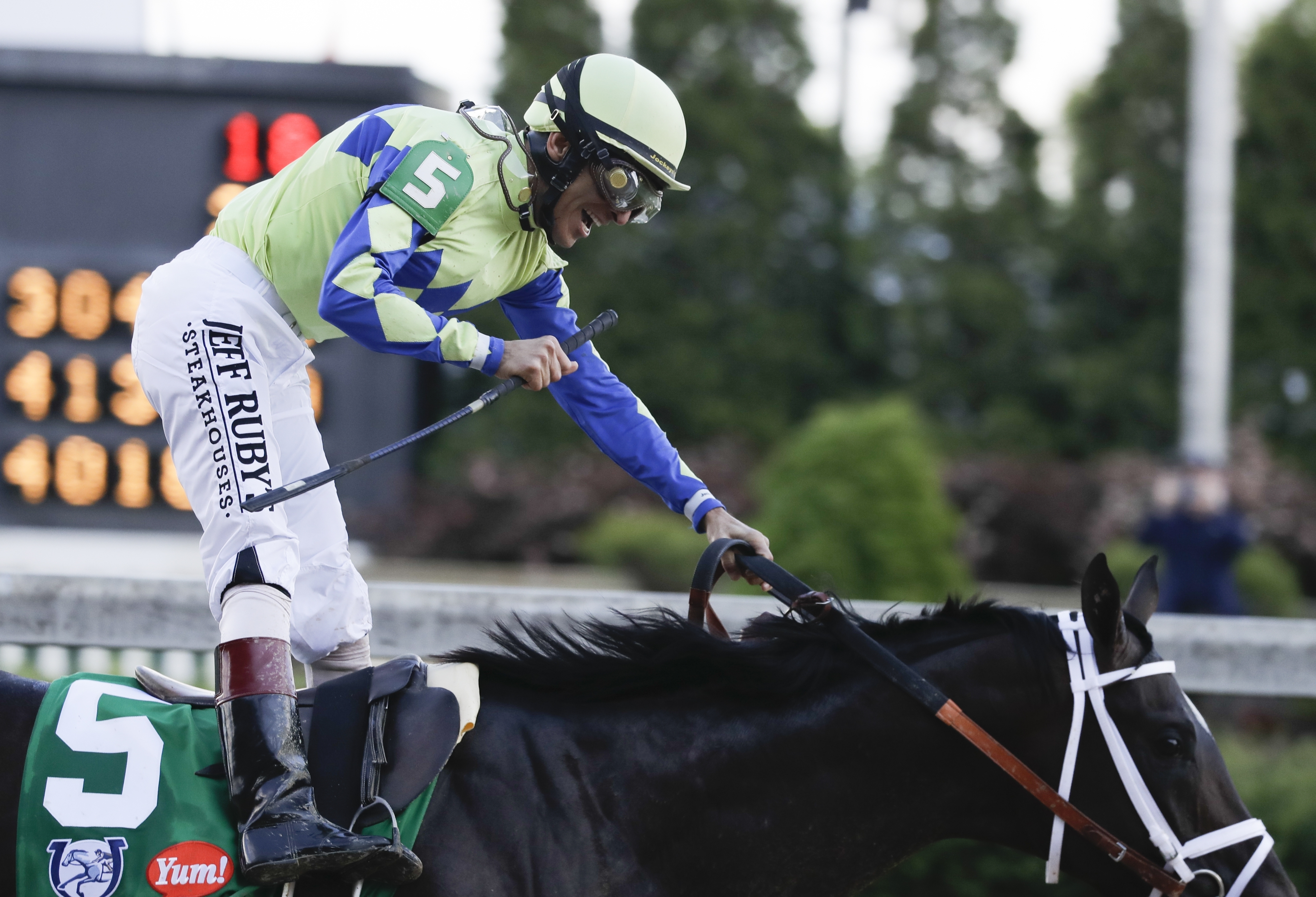 John Velazquez rides Always Dreaming to victory in the 143rd running of the Kentucky Derby horse race at Churchill Downs Saturday, May 6, 2017, in Louisville, Ky. (AP Photo/Garry Jones)