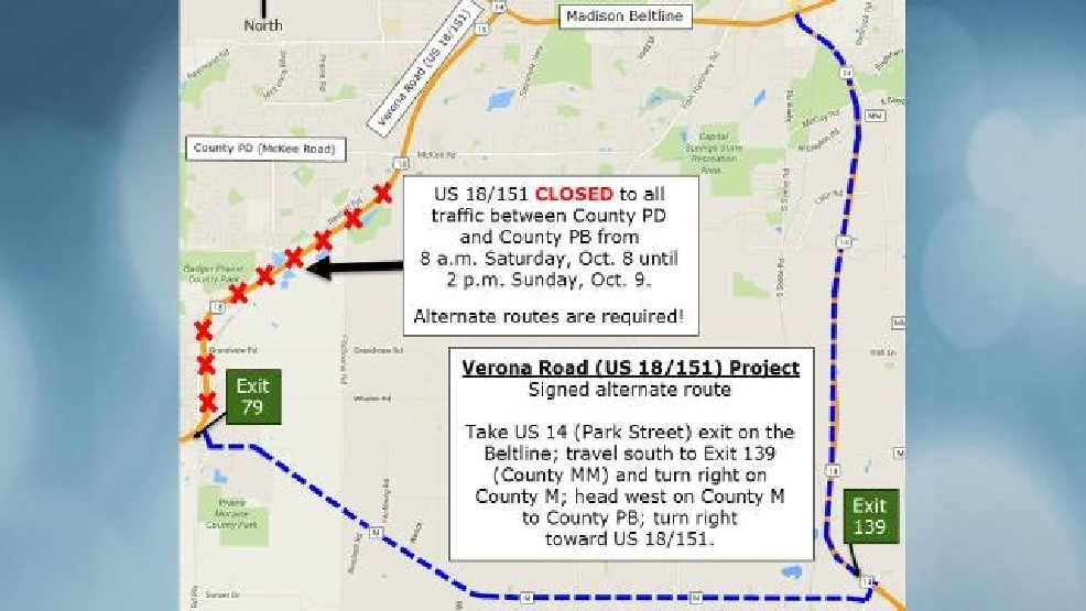 DOT Construction will close Verona Road for 30 hours this weekend