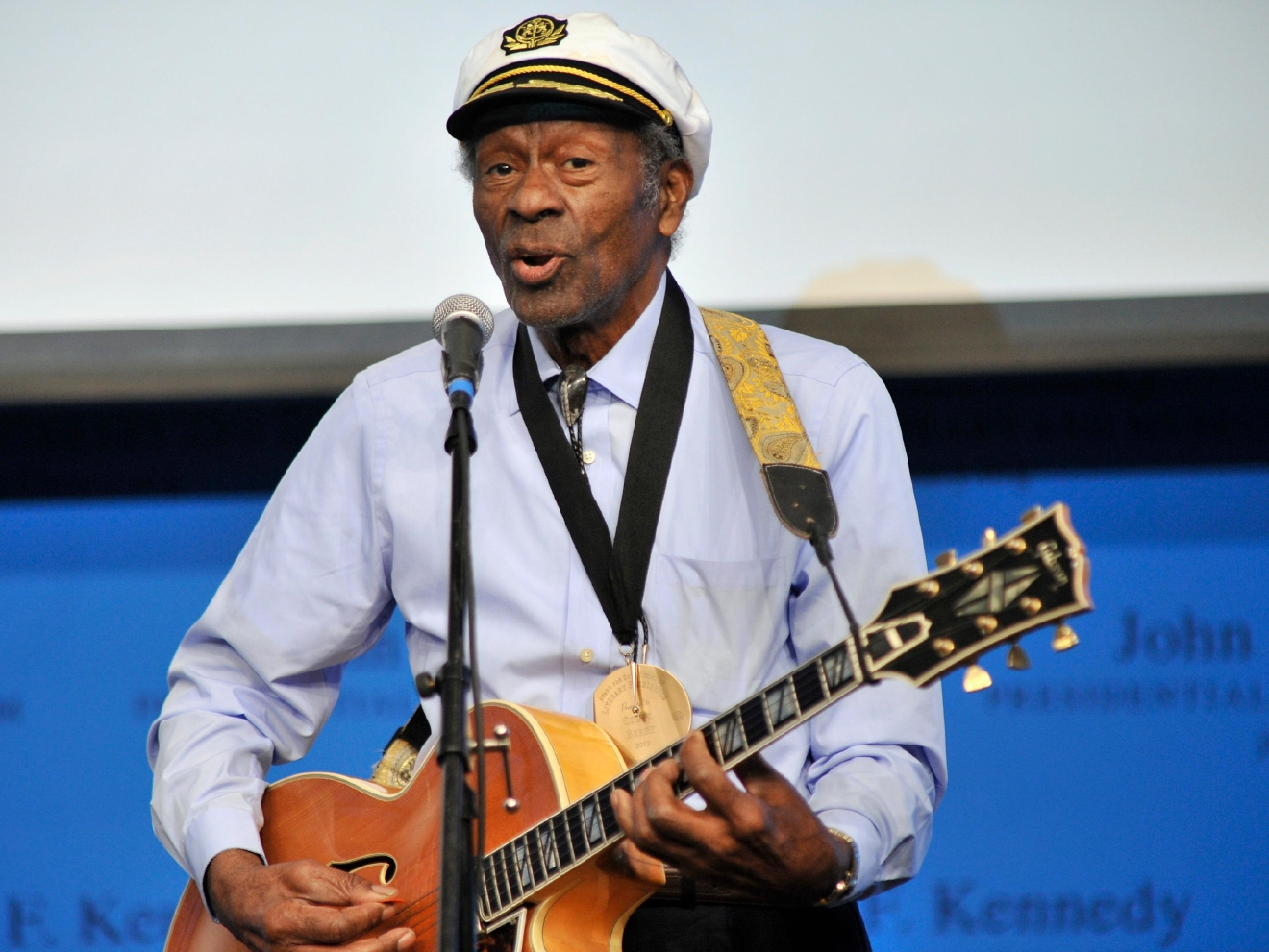 "FILE - In this Feb. 26, 2012 file photo, rock 'n' roll legend Chuck Berry performs ""Johnny B. Goode"" at the John F. Kennedy Presidential Library and Museum in Boston. Berry is set to release his first new studio album in more than 35 years. The album, titled ""Chuck,"" will be available in 2017. (AP Photo/Josh Reynolds, File)"
