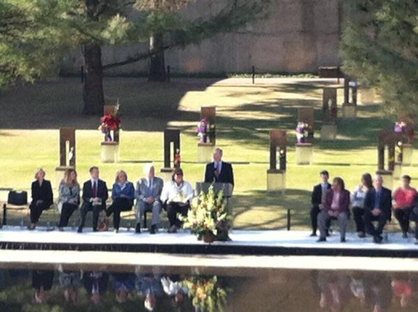 Mayor Mick Cornett speaks during the ceremony.