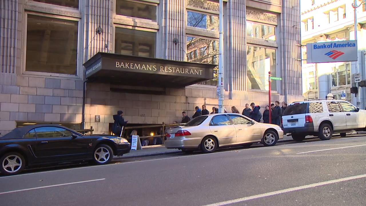 A line stretched around the corner of Bakeman's Restaurant on Thursday after word spread that the popular spot will close in two weeks. (KOMO News)