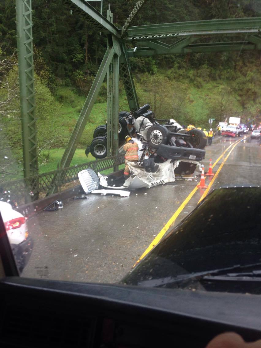 A truck crash on the Scottsburg Bridge closed Hwy 38. (Photo courtesy James Martin)