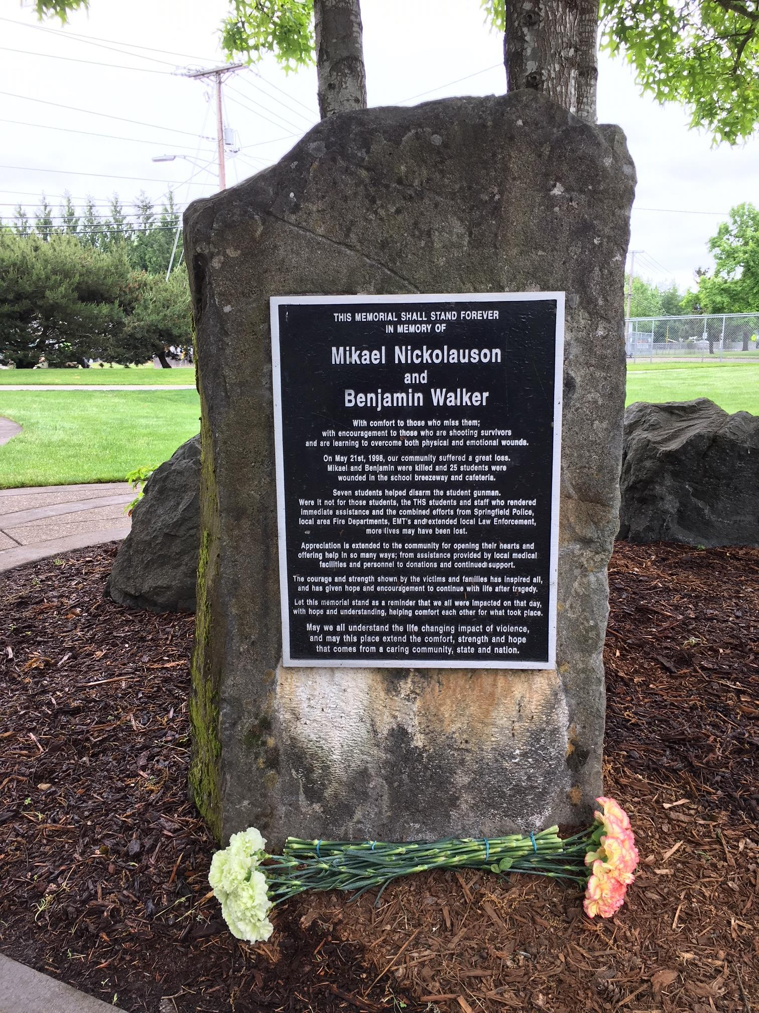 A 15-year-old shot and killed students Ben Walker and Mikael Nickolauson and wounded 26 others May 21, 1998, at Thurston High School, after killing his parents the day before. Memorials on campus pay tribute to those killed and injured - and call for a more peaceful future. (SBG)