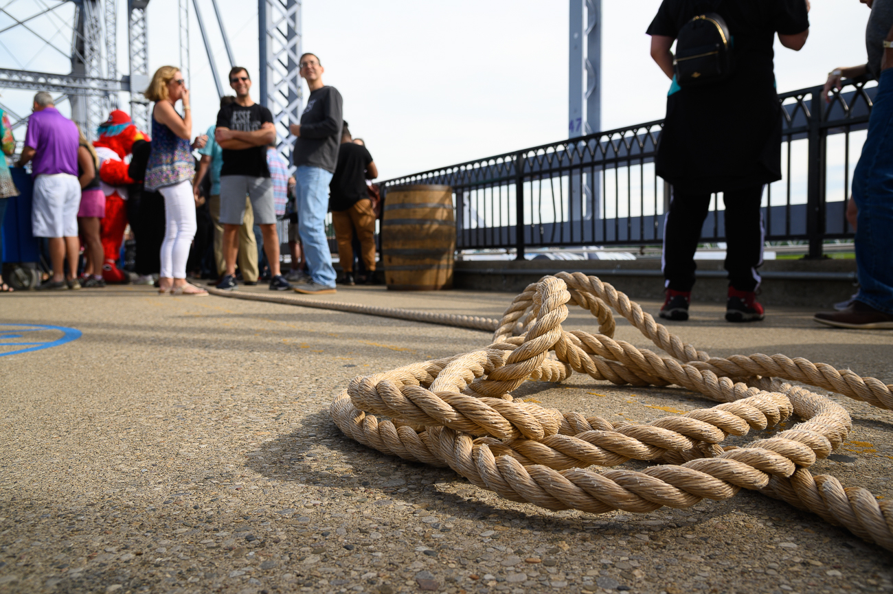 A massive rope spanned the length of the Purple People Bridge. / Image: Phil Armstrong // Published: 6.14.19