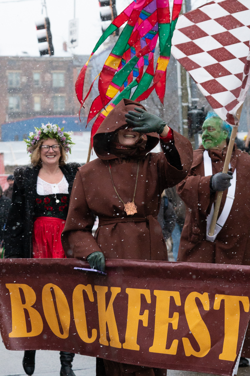 The 28th annual Bockfest Parade took place on Friday, February 28. The parade started at Arnold's Bar and Grill on 8th Street and ended at the Moerlein Tap Room in Over-the-Rhine. Though it snowed throughout the parade, Bockfest is a celebration of the coming of spring along with OTR's brewing heritage. Special bock beer is served during this weekend-long event. Bockfest formally ends on Sunday evening. / Image: Phil Armstrong, Cincinnati Refined // Published: 2.29.20