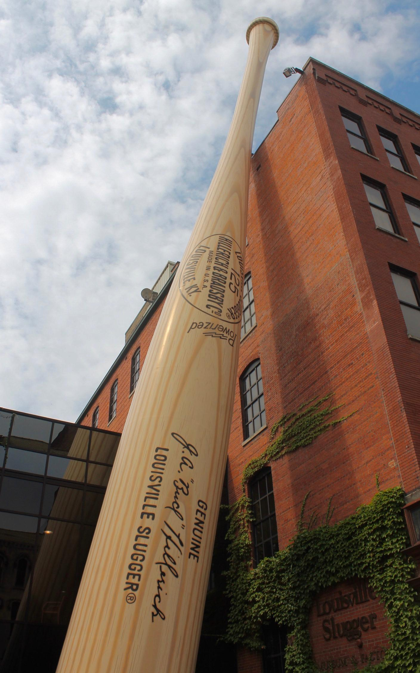The Big Bat outside of the museum is the largest baseball bat in the world. It weighs 68,000 lbs and stands 120 feet tall. / Image: Rose Brewington // Published: 8.15.17