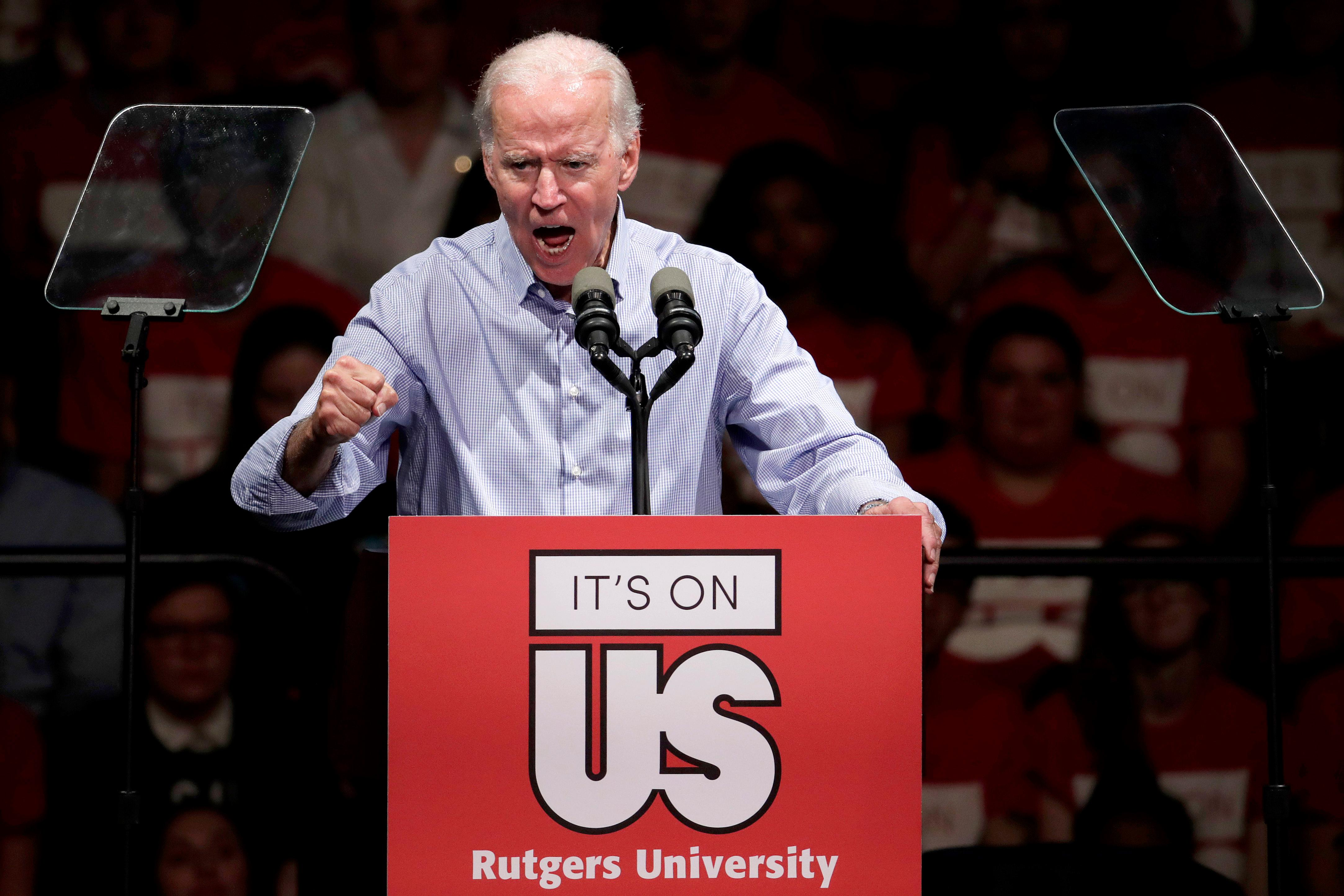 Former U.S. Vice President Joe Biden delivers remarks regarding sexual violence on college campuses during a visit to Rutgers University, Thursday, Oct. 12, 2017, in New Brunswick, N.J. (AP Photo/Julio Cortez)