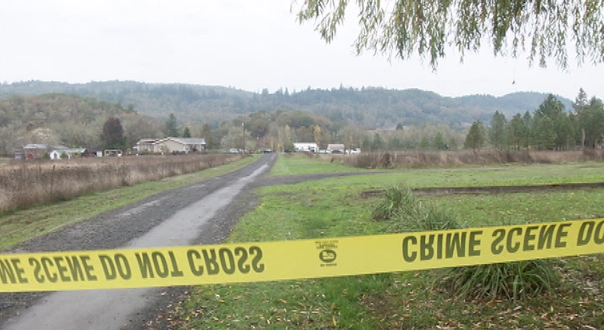 Investigators remained on scene throughout the day Wednesday after responding to a triple homicide on Whispering Pines Way in the Lookingglass area southwest of Roseburg, Oregon. (SBG)<p></p>